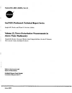 I 1 SeaWiFS Postlaunch Technical Report Series Volume 23, Tower ...