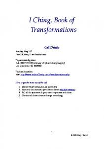 I Ching, Book of Transformations - I Ching with Clarity