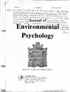 I Don't Feel That About Environmental Psychology Today. But I Want