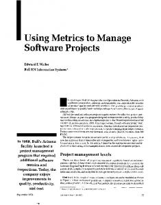 I Using Metrics to Manage Software Projects
