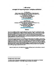 I will survive: strategies for improving lawyers' workplace ... - SSRN