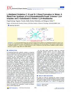 I2-Mediated Oxidative C–N and N–S Bond Formation