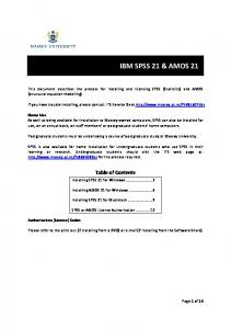 IBM SPSS 21 & AMOS 21 - Massey University