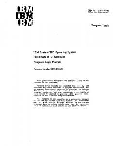 IBM System/3S0 Operating System FORTRAN IV (G) Compiler ...
