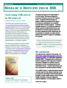 IBR NEWSLETTER RESEARCH REPORTS FROM IBR