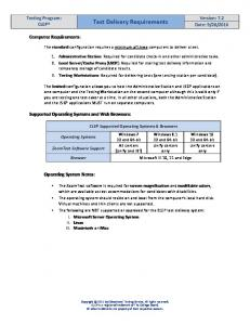 iBT Test Delivery Requirements - The College Board