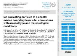 Ice nucleating particles at a coastal marine boundary ...