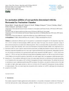 Ice nucleation abilities of soot particles determined with the Horizontal ...