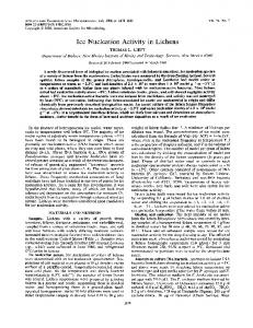 Ice Nucleation Activity in Lichens - Applied and Environmental ...