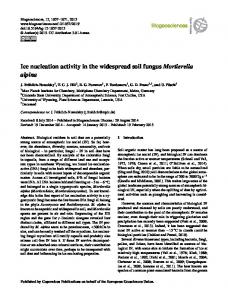 Ice nucleation activity in the widespread soil fungus ... - Biogeosciences