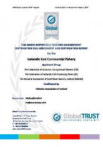 Icelandic Cod Commercial Fishery - Iceland Responsible Fisheries