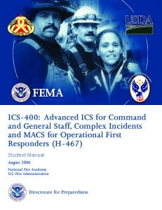 ICS-400: Advanced ICS for Command and General Staff ... - NCTCOG