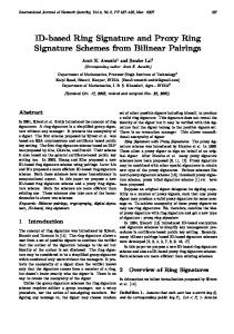 ID-based Ring Signature and Proxy Ring ... - Semantic Scholar