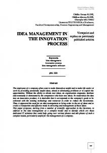 idea management in the innovation process - sea open research