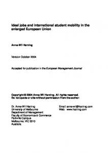 Ideal jobs and international student mobility in the ... - Harzing.com