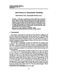 Ideal Theory in Commutative Semirings
