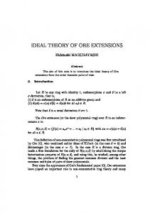 IDEAL THEORY OF ORE EXTENSIONS