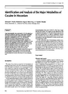 Identification and Analysis of the Major Metabolites of Cocaine in ...
