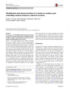 Identification and characterization of a stachyose ... - CyberLeninka