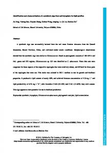 Identification and characterization of a symbiotic alga ... - Biology Open