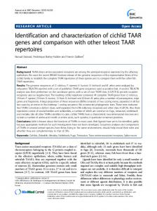 Identification and characterization of cichlid TAAR genes and ... - Core