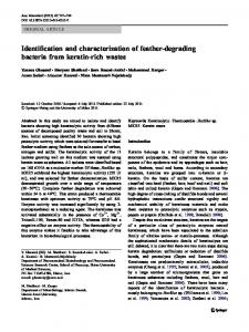 Identification and characterization of feather-degrading bacteria from ...