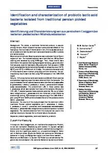 Identification and characterization of probiotic