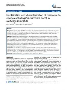 Identification and characterization of resistance to cowpea aphid ...