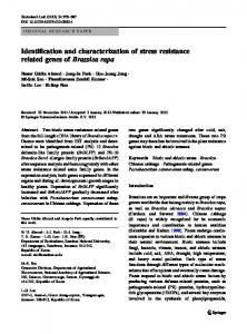 Identification and characterization of stress resistance related genes of ...