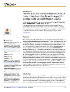 Identification and characterization of the bZIP transcription ... - PLOS