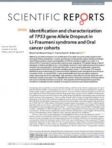 Identification and characterization of TP53 gene Allele