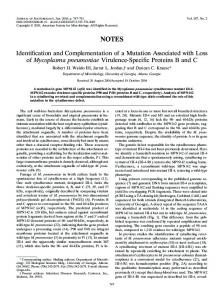 Identification and Complementation of a Mutation Associated with ...
