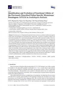 Identification and Evolution of Functional Alleles of the Previously ...