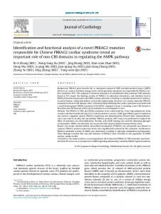 Identification and functional analysis of a novel PRKAG2 mutation ...