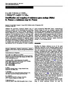 Identification and mapping of resistance gene ... - PubAg - USDA