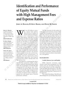Identification and Performance of Equity Mutual Funds ...