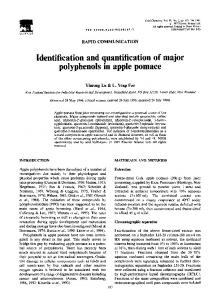 Identification and quantification of major polyphenols in apple pomace