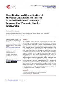 Identification and Quantification of Microbial Contaminations Present ...