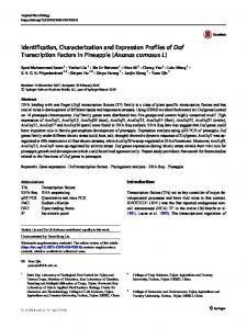 Identification, Characterization and Expression Profiles ... - Springer Link