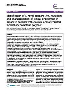Identification of 5 novel germline APC mutations and ... - BioMedSearch