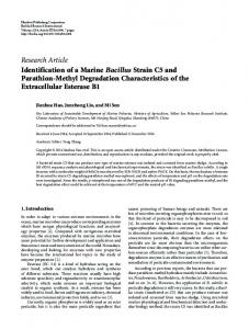 Identification of a Marine Bacillus Strain C5 and Parathion-Methyl