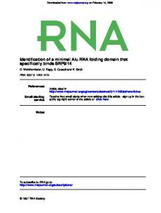 Identification of a minimal Alu RNA folding domain that specifically ...