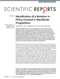Identification of a Mutation in FGF23 Involved in ... - Semantic Scholar