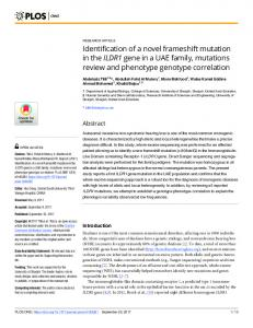 Identification of a novel frameshift mutation in the ILDR1 gene in ... - Plos