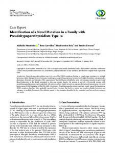 Identification of a Novel Mutation in a Family with ...