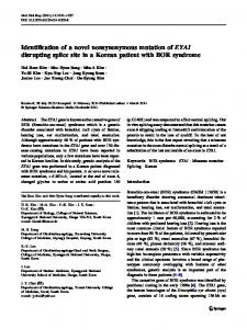 Identification of a novel nonsynonymous mutation of ... - Springer Link