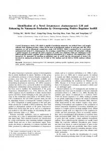 Identification of a novel Streptomyces chattanoogensis L10 and ...