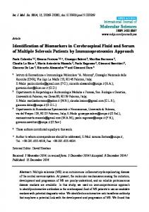 Identification of Biomarkers in Cerebrospinal Fluid and Serum ... - MDPI