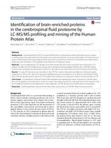 Identification of brain-enriched proteins in the ... - Clinical Proteomics