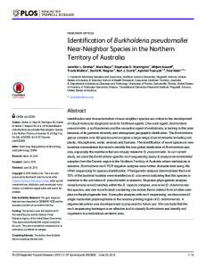 Identification of Burkholderia pseudomallei Near-Neighbor ... - PLOS
